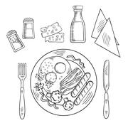 Sketch of tasty cooked dinner on a plate - stock illustration