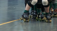 Roller Derby Skaters Lining Up, Close Up of Skates Stock Footage