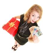 Stock Photo of Woman with gift box and euro currency money banknotes.