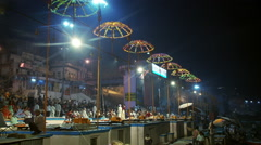 Nighttime shot of the wharf and lit ceremony area. Stock Footage