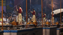 Four Brahmin Priests  with bells and incense Stock Footage