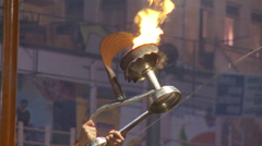 Fiery goblet being raised several time in an incense offer ceremony. Stock Footage