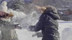 Closeup Of Playful Teens Throwing Snow At Each Other Stock Footage