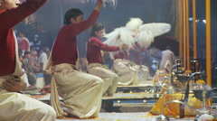 Brahmin Priests with Yak Tail fan Stock Footage