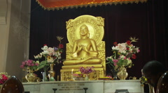 Closeup view of Buddhist temple altar - stock footage
