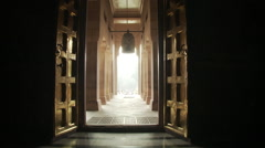 Shot looking out the door of the Mulagandhakuti shrine at Sarnath. Stock Footage