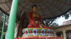 View of Buddha statue up close Stock Footage