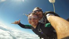 Skydiving Tandem jump from the plane - stock footage