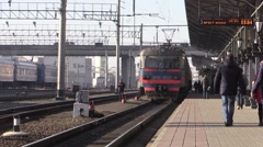Passengers enter the train. In The city of Brest, Belarus Stock Footage