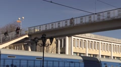 Pedestrian bridge over the rails. In The city of Brest, Belarus Stock Footage
