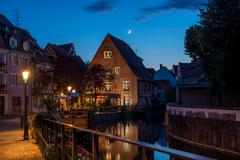 Traditional french houses on the side of chanel Petite Venise, Colmar, France Stock Photos