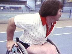 Wheelchair Tennis / Disabled Tennis Players (Archival Footage) 1980s Stock Footage