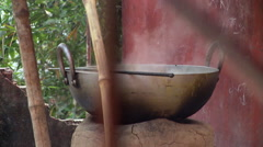 Closeup view of large steaming pot Stock Footage