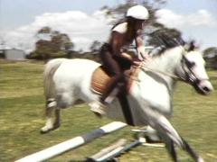 Horse Jumps, Galloping, Barrier Jumping (Archive Footage) - stock footage