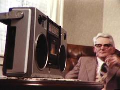 Elderly Man Listens to Radio (archive footage) 1980s - stock footage
