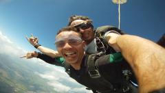 Skydiving tandem men - stock footage