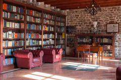 BUDVA, MONTENEGRO - FEBRUARY 7, 2016: The Library in the Citadel museum Stock Photos