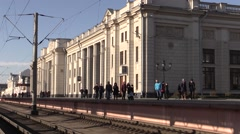 People on the station platform go. In The city of Brest, Belarus Stock Footage