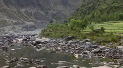 Static view of rocky river bed in India Stock Footage