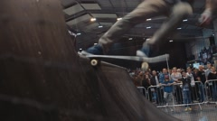 Skateboarder Lip Trick, Close Up Stock Footage