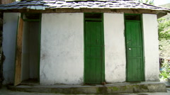 View of green doors on building in Indian Village Stock Footage