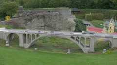 The Pont Adolphe displayed at the Mini-Europe, Brussels Stock Footage