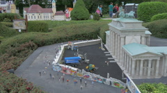The Berlin Wall surrounding the Brandenburg Gate at the Mini-Europe, Brussels - stock footage