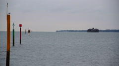 Seafront Beach Ocean Sea Seagull Bird Horizon Island Stock Footage