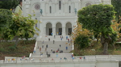 Plastic figurines in front of the Sacred Heart Basilica at Mini-Europe, Brussels Stock Footage
