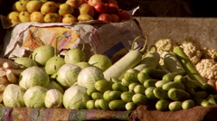 Static view of vegetables cucumbers, cabbage, cauliflower Stock Footage