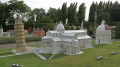 The Tower of Pisa, the Cathedral and The Baptistery at the Mini-Europe, Brussels Stock Footage