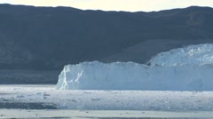 Pan along stunning glacier front in Greenland during the blue hour - stock footage