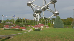 Pan view of the Mini-Europe park, on a cloudy day in Brussels Stock Footage
