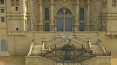 Entrance of the Santiago de Compostela Cathedral at the Mini-Europe, Brussels Stock Footage