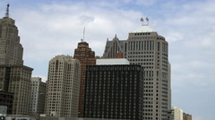 Panning shot of the Detroit skyline. Stock Footage