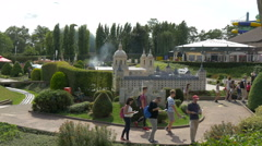 Passing by Castle of Guimaraes and El Escorial at the Mini-Europe, Brussels Stock Footage