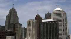 Static shot of Detroit skyscrapers. Stock Footage