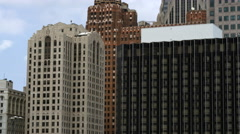Tight panning shot of the high rise buildings in Detroit. Stock Footage