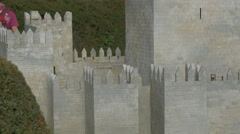 Close up of Castle of Guimaraes displayed at the Mini-Europe, Brussels Stock Footage