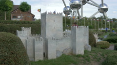Castle of Guimaraes displayed at the Mini-Europe, Brussels Stock Footage