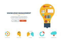 Knowledge management website template - stock illustration
