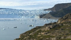 Pan along moraine and glacier front in Greenland Stock Footage