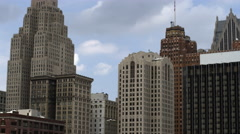 Tight panning left shot of the high rise buildings in Detroit. - stock footage