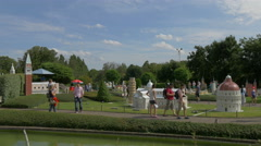 Walking on an alley at the Mini-Europe, on a sunny day in Brussels Stock Footage