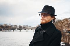 Handsome Bearded Man in Paris, France Stock Photos