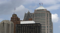 Panning shot of skyscraper skyline of Detroit. Stock Footage