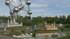 Admiring the scale models from Spain displayed at the Mini-Europe, Brussels Stock Footage