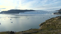 Pan along a beautiful fjord view and a glacier front Stock Footage