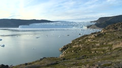 Pan along a beautiful fjord view and a glacier front in Greenland Stock Footage