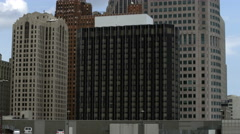 Tilting up shot of several high rise buildings in Detroit. Stock Footage